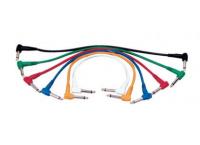 PACK 6 CABLES PATCH 2 JACKS MONO M COUDES 60 CM YELLOW CABLE P060C/6