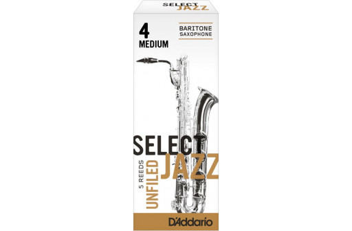 BOITE 5 ANCHES SAXOPHONE BARYTON D'ADDARIO SELECT JAZZ UNFILED N°4 M